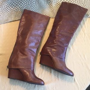 Steve Madden Maryn Leather Wedge Knee High Boot